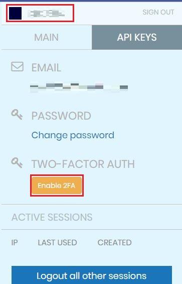 左上のユーザ名をクリックして、更に [Enable 2FA] をクリック