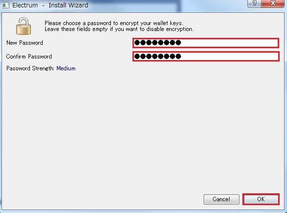 暗号化/暗号解除用のパスワードを入力して [OK] をクリック