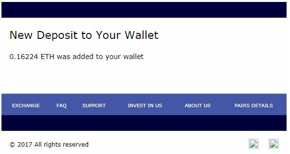 入金が完了すると以下のようなメールが届く