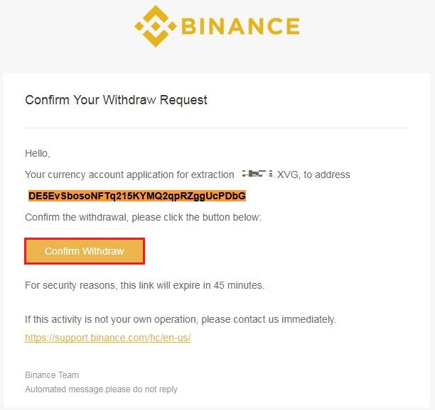 下記メールを受信するため [Confirm Withdraw] をクリック