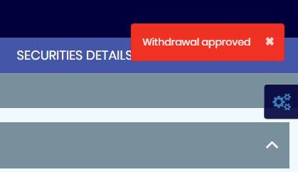 ブラウザが切り替わり [Withdrawal approved] が表示されれば成功