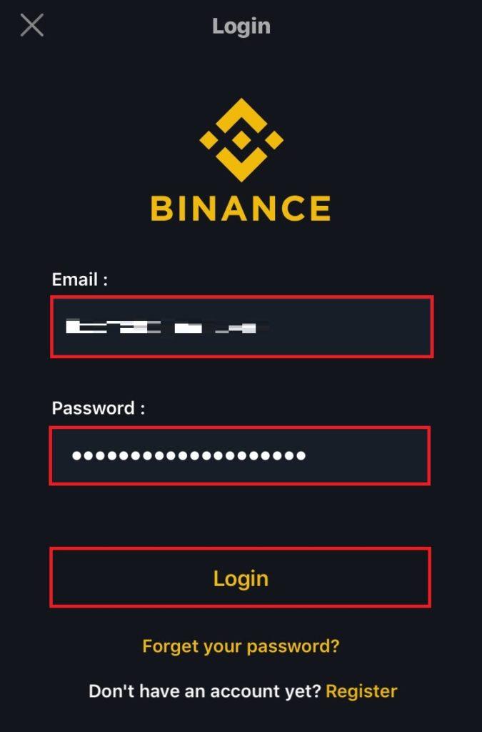 [メールアドレス]、[パスワード] を入力して [login] をタップ