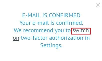 [switch on] をクリック