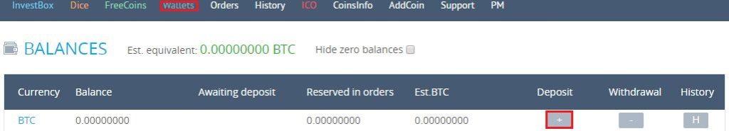 [Wallet] をクリックして、入金したい仮想通貨の [+] をクリック