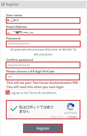 [ユーザネーム]、[メールアドレス]、[パスワード]、[PINコード]を入力