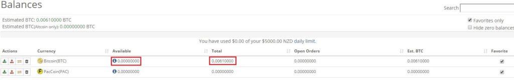 送金して暫く時間がたつと [Total] の値が [Available] に反映されて取引が可能となる