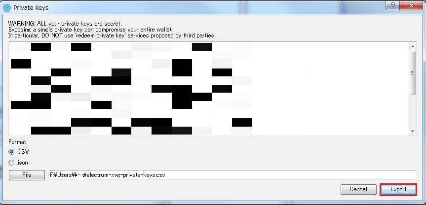 [Export] をクリックして CSV を適当な場所へ保存する