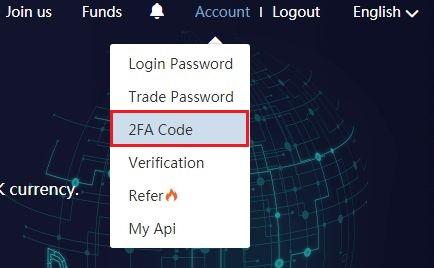 右上の [Account]-[2FA Code] をクリック