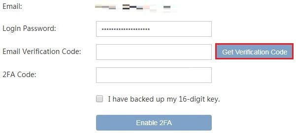 [Get Verification Code] をクリック
