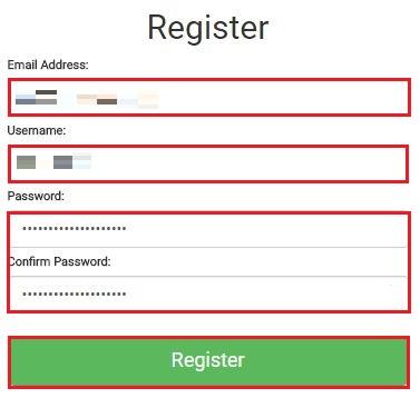 [メールアドレス]、[ユーザネーム]。[パスワード] を入力して[Register] をクリック