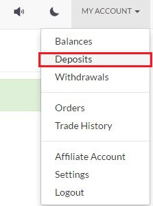 [MY ACCOUNT]-[Deposits] をクリック