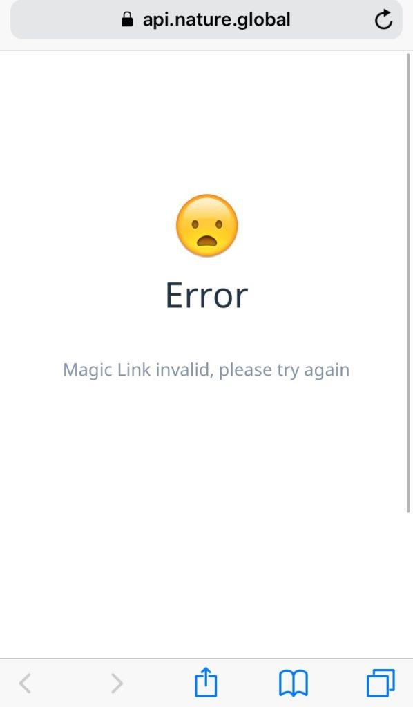 Error Magic Link invalid, please try again について