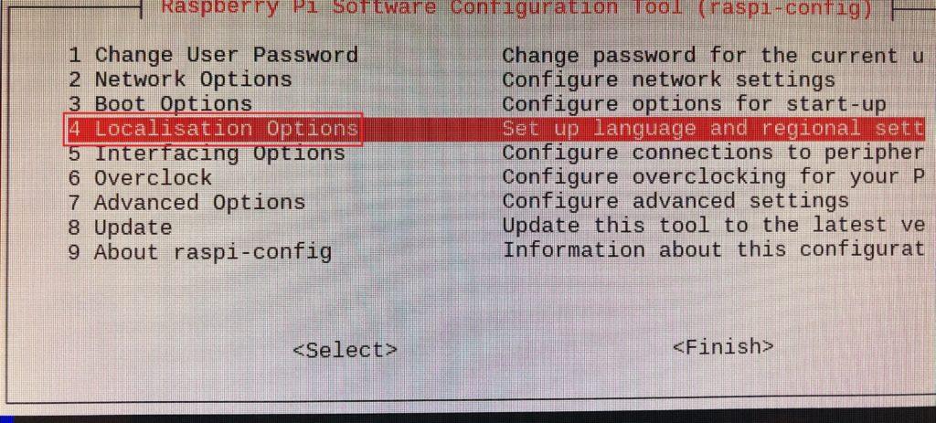 Raspberry Pi の config 画面を開いて [Localistion Option] を選択