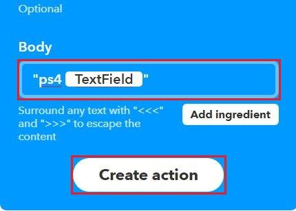 以下のように入力して [Create action] をクリック