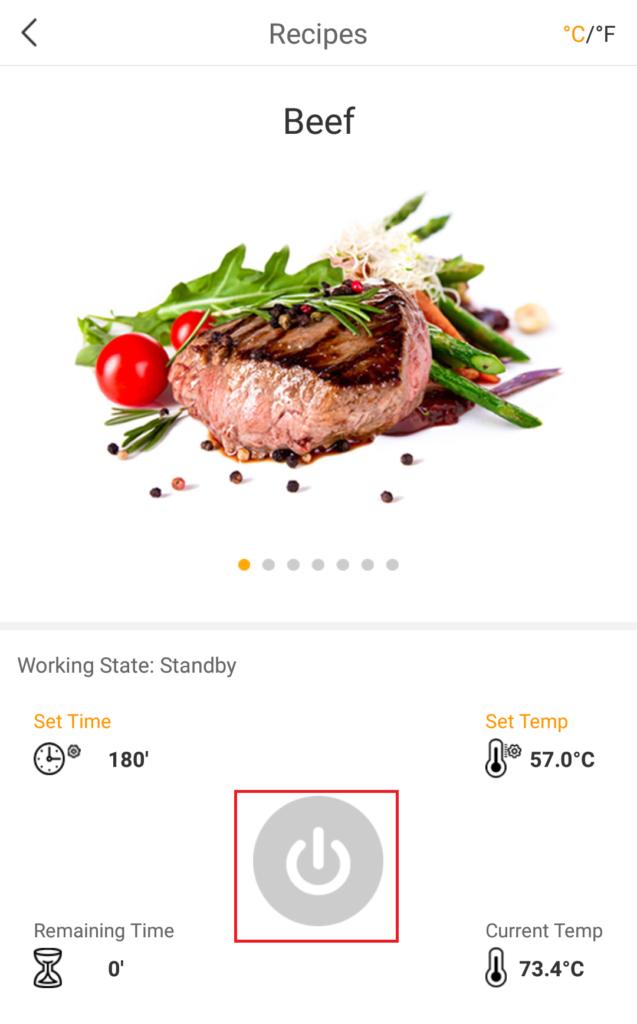 時間と温度を設定すると、アプリの電源ボタンをタップし、低温調理を開始する
