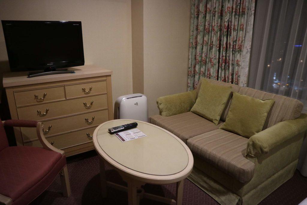 ソファ、テレビ、加湿器があり、少し広めのリラックスできる空間でした。