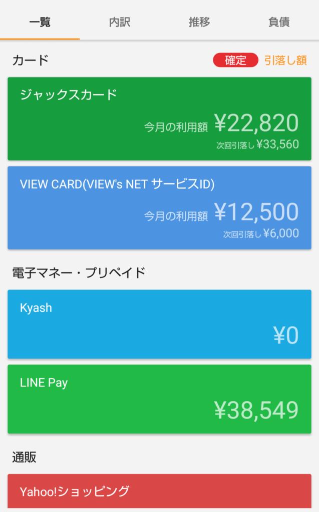 そのため、moneyforward 等の家計簿アプリを使用して月々の収支を管理しています。