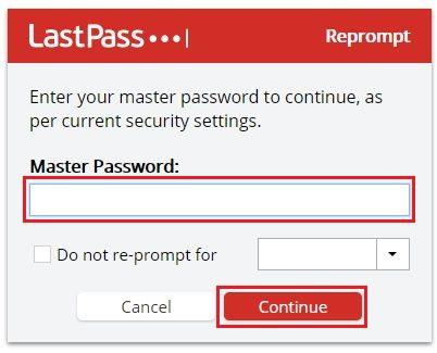 LastPass のマスターパスワードを入力し、[Continue] をクリック